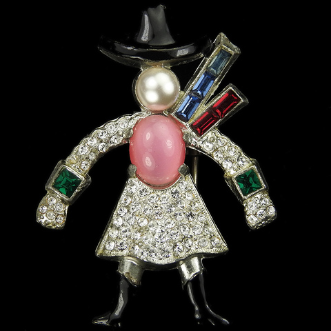 After Dujay (1939 copy) Pave Moonstone Enamel and Pearl Cowgirl with Hat Scarf and Boots Pin Clip