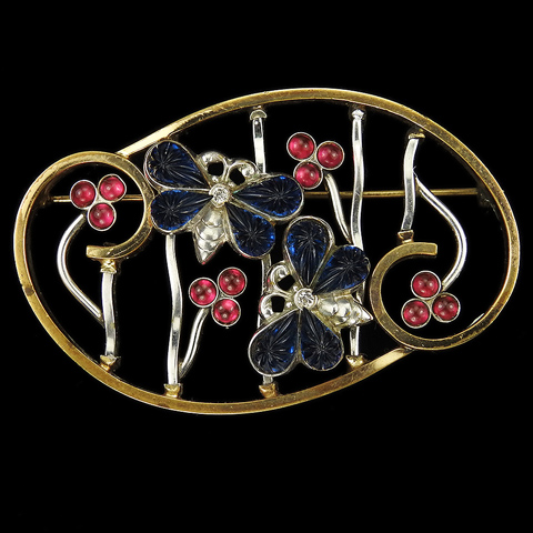 Kreisler USA Fruit Salad Butterflies and Ruby Cabochon Flowers on a Gold and Rhodium Lattice Floral Scene Pin