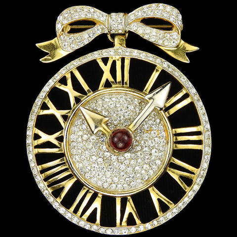 Castlecliff Gold Pave and Ruby Cabochon Clock Face with Moveable Hands Pendant from a Bow Pin