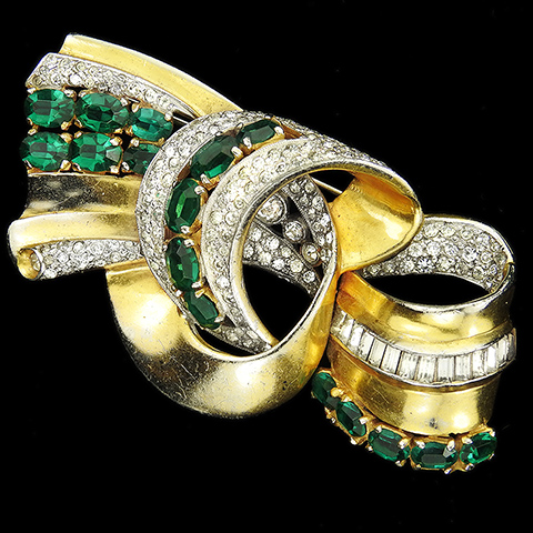 Leo Glass Gold Pave Baguettes and Emeralds Deco Bow or Bowknot Swirl Pin