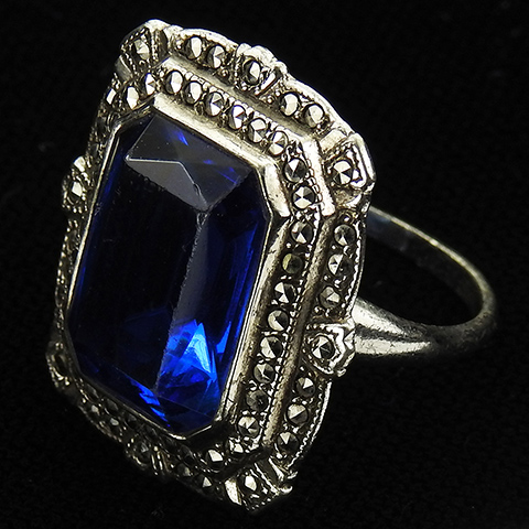 Uncas Mfg Deco Sterling Marcasites and Sapphire Finger Ring