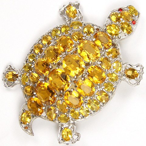 Czech Citrine and Ruby Eyed Turtle Pin