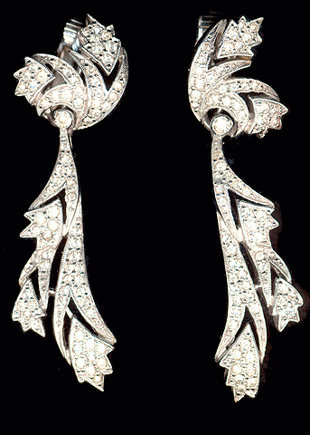 Polcini (unsigned) Pave Leaves Pendant Clip Earrings
