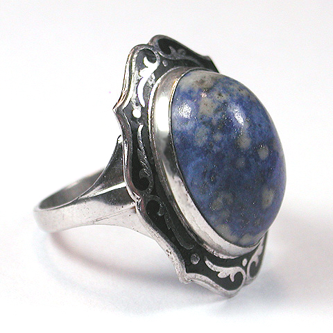 L. S. Peterson Sterling Marbled Turquoise Cabochon and Enamel Finger Ring