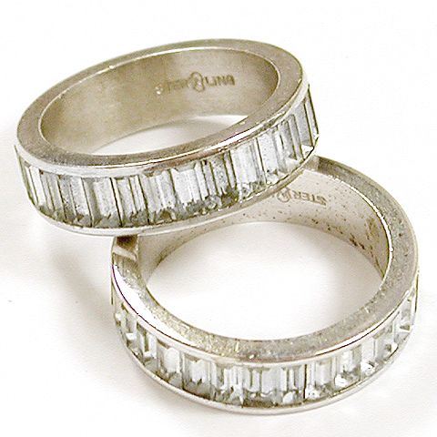 Pair of J.D. Schlang Sterling and Invisibly Set 'Diamonds' Finger Rings