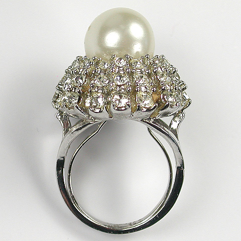 Cellini Pave Starburst and Pearl Finger Ring