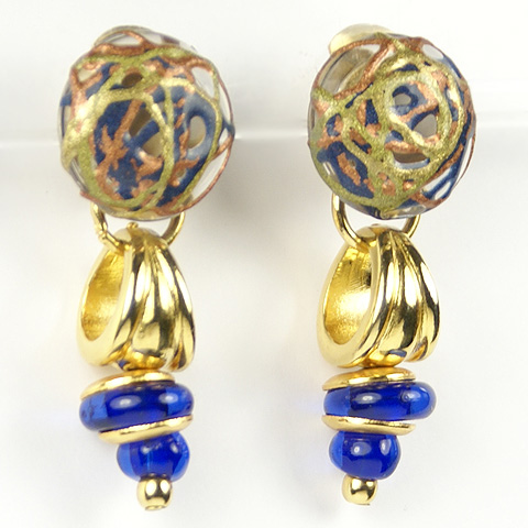 Made in Italy Venetian Glass and Lapis Pendant Clip Earrings