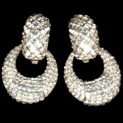 HE Germany Invisibly Set Diamonds Pendant Crescents Clip Earrings