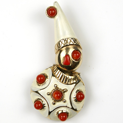 Castlecliff Gold Ruby Cabochon and White Enamel Trembler Clown Pin Clip