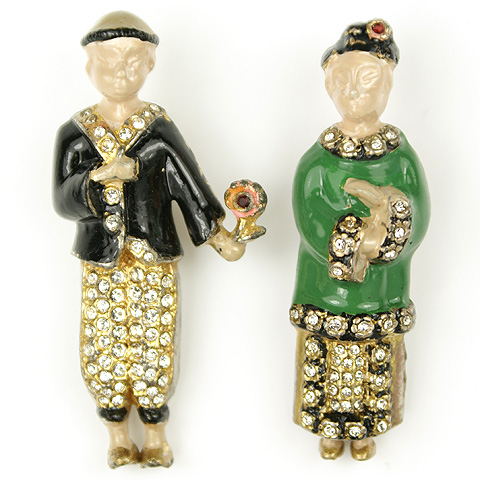 Walter Lampl Pair of Chinese Lady and Gentleman Pin Clips
