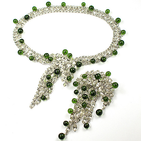 Kramer Diamond Chatons and Emerald Cabochons Cascade Necklace and Matching Pin Set