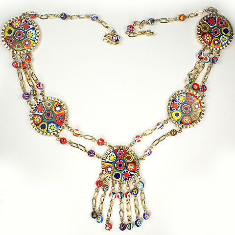 Italian Venetian Glass Five Multicoloured Roundels and Links Necklace