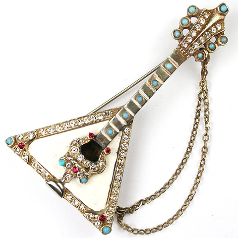 Murray Slater (unsigned) Gold Turquoise and Enamel Balalaika Musical Instrument Pin
