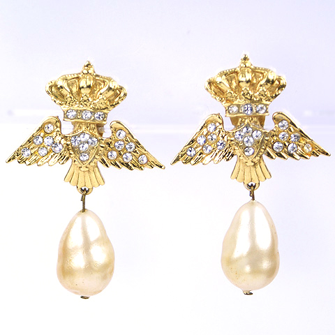 Zoe Coste Made in France Crowned Wings and Pendant Baroque Pearl Clip Earrings