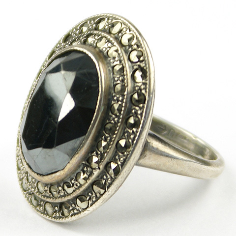 Uncas Sterling Marcasites and Hematite Finger Ring