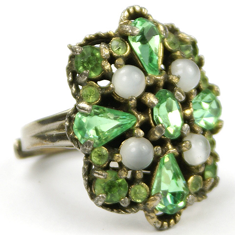 Hollycraft Peridot and Moonstone Cabochons Adjustable Finger Ring