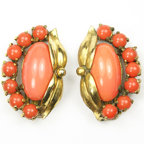 Made in Italy Gio-Le Gold Leaves Coral and Carnelian Floral Clip Earrings