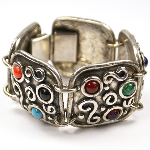 Edouard Rambaud Paris Silver Shields and Multicolour Cabochons Five Link Bracelet
