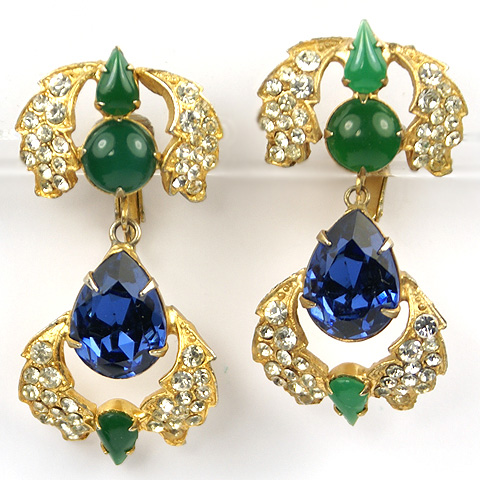 Mimi Di N Jewels of India Style Gold Pave Sapphire and Emerald Pendant Clip Earrings