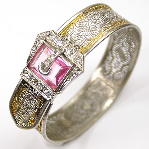 JJ White 'Edward Weed' 1933 Gold and Silver Filigree with Pink Topaz Hinged Buckle Bangle Bracelet