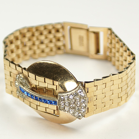 Dorsons Gold Tesselations with Disk and Invisibly Set Sapphires Buckle Motif Bracelet