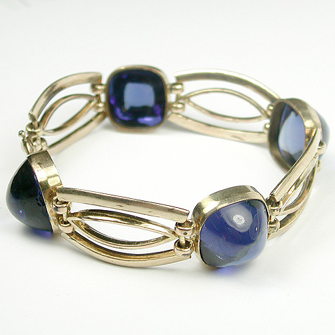 Deco Gold Rails and Sapphire Pyramid Cabochons Four Link Bracelet