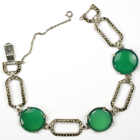 Deco Sterling Marcasites and Green Chalcedony Discs Link Bracelet