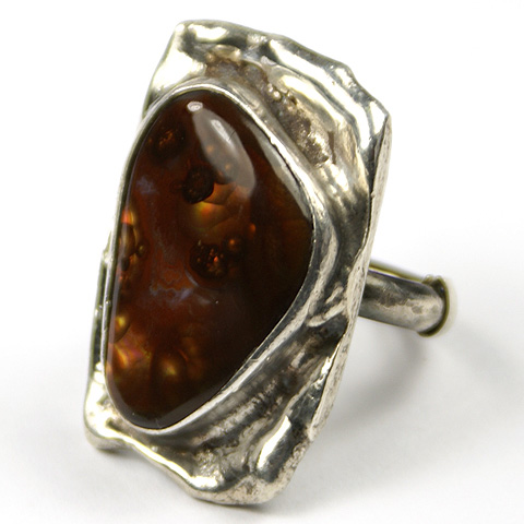 Sterling and Inset Agate Adjustable Finger Ring