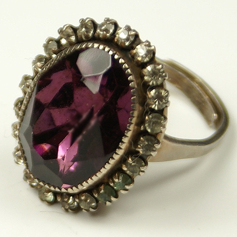 Deco Sterling Pave and Amethyst Adjustable Finger Ring