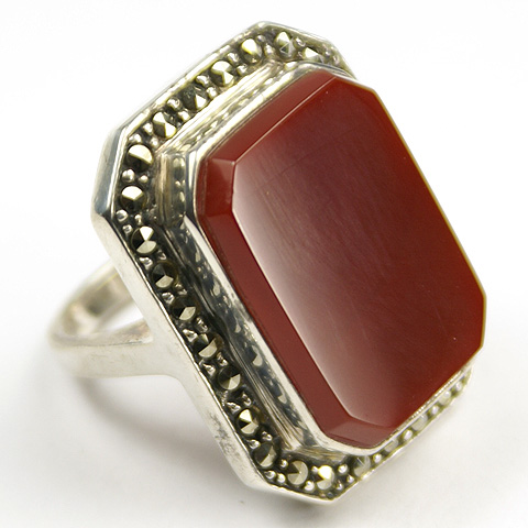 Deco Sterling Carnelian and Marcasites Finger Ring