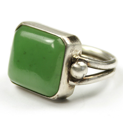 Silver and Jade Finger Ring