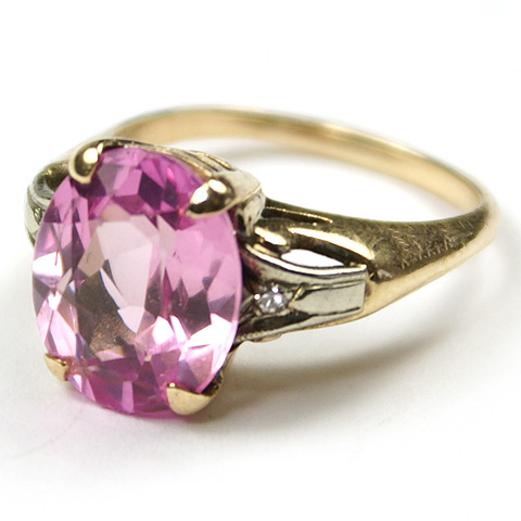 Deco Style Gold and Pink Sapphire Finger Ring