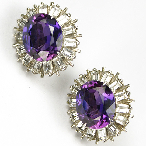Sterling and Amethysts Clip Earrings