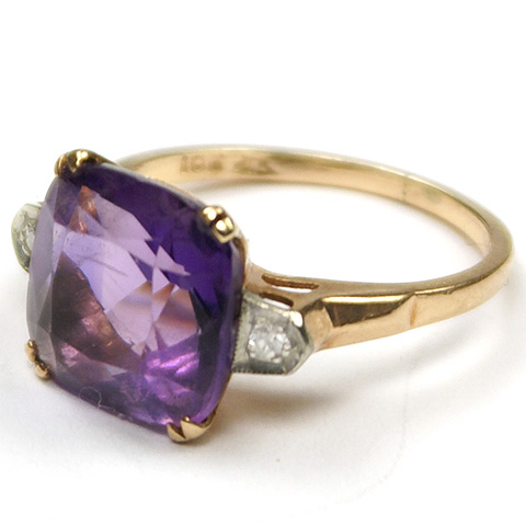 10 Karat Gold, Real Diamonds and Amethyst Finger Ring