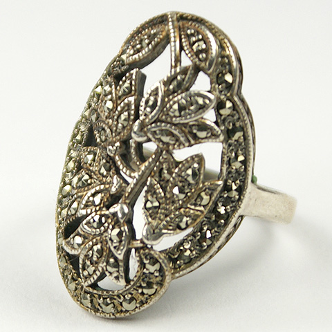 Deco Sterling and Marcasites Flower Scene Finger Ring