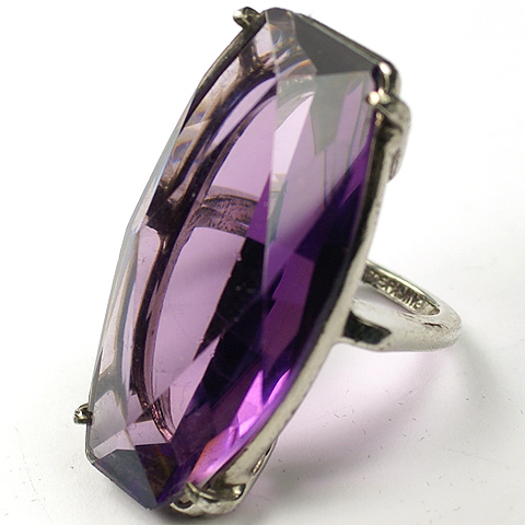 Sterling and Amethyst Cocktail Finger Ring