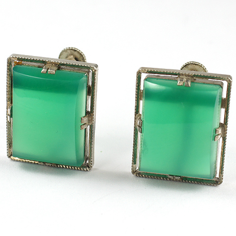 Deco Sterling and Chalcedony Squares Screwback Earrings