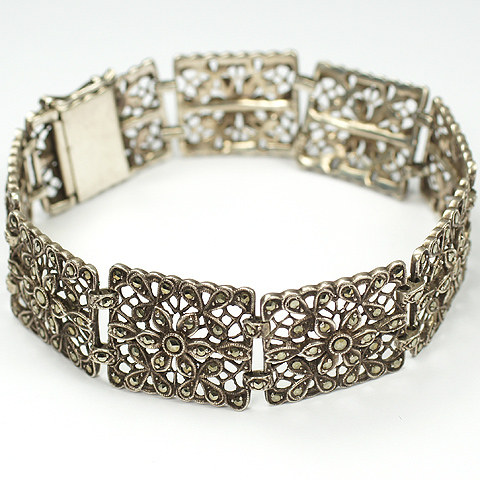 Deco German Sterling and Marcasites Floral Link Bracelet