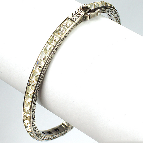 Deco Sterling Invisibly Set Diamonds Bangle Bracelet