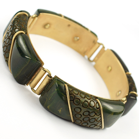 Deco Dark Green Bakelite with Inset Gold Slashes and Stamped Circles Bracelet