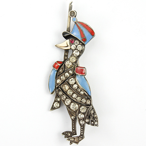 Deco Sterling Pave and Enamel Soldier Goose with Rifle Tepis Hat and Epaulettes Pin