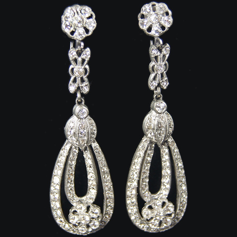 Pave Deco Flowers and Loops Pendant Screwback Earrings