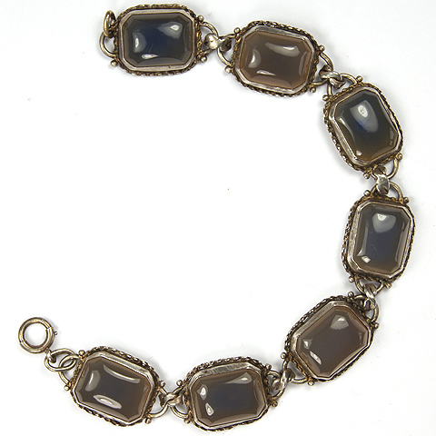 Deco Sterling and Agate Seven Link Bracelet