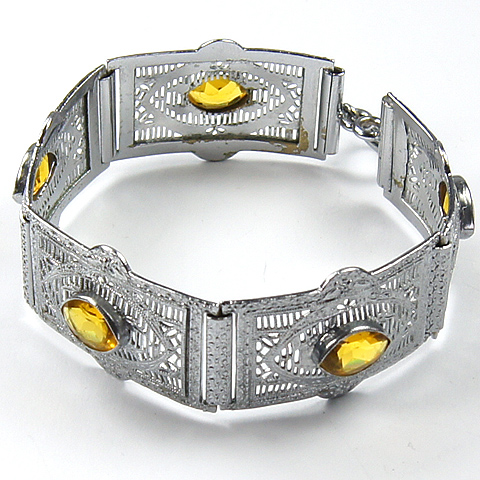 Deco Silver Filigree and Citrines Five Link Bracelet