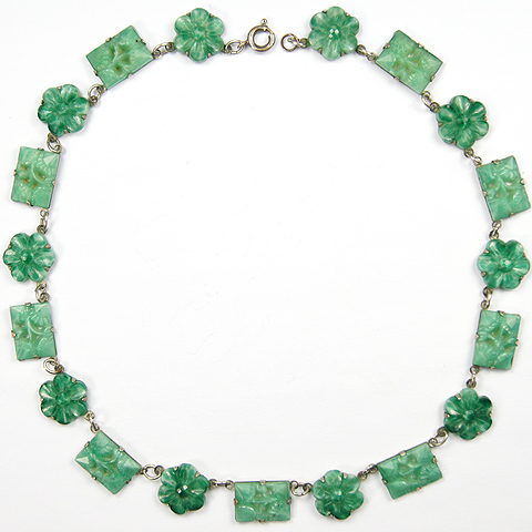 Deco Silver and Jade Flowers and Floral Scenes Choker Necklace