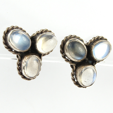 Deco Sterling and Moonstone Cabochons Trefoil Screwback Earrings