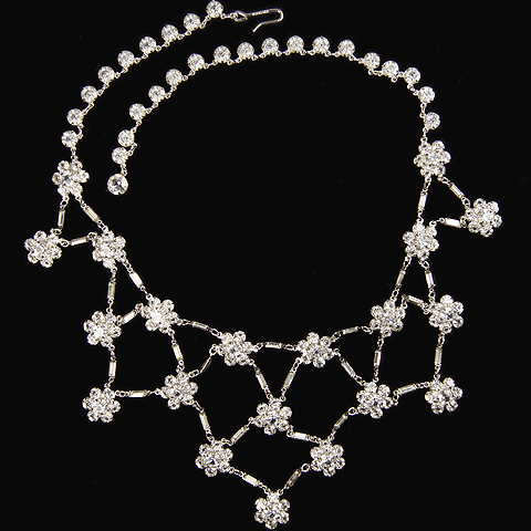 Deco Sterling Open Backed Crystal Linked Florets Necklace