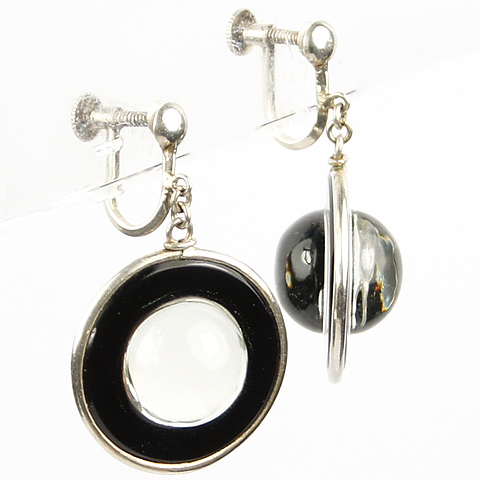 Deco Silver Rock Crystal Globes and Black Rings Pendant Screwback Earrings