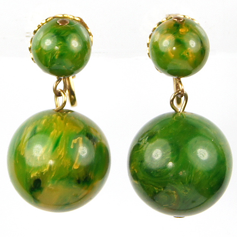 Gold and Spinach Bakelite Globes Pendant Clip Earrings