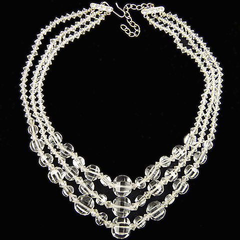 Deco Carved Rock Crsytal Triple Stranded Necklace